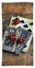 Vintage Cards Dice And Cash Hand Towel