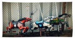 Vintage Carousel Horses 006 Hand Towel