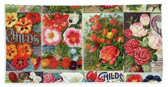 Vintage Childs Nursery Flower Seed Packets Mosaic  Hand Towel