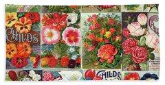 Vintage Childs Nursery Flower Seed Packets Mosaic  Bath Towel