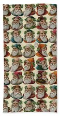 Vintage Christmas Card With Santa Claus Hand Towel