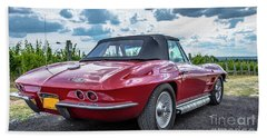 Vintage Corvette Sting Ray In Vineyard Hand Towel