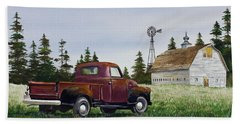 Bath Towel featuring the painting Vintage Country Pickup by James Williamson