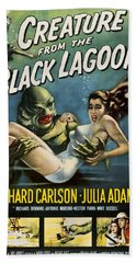 Bath Towel featuring the digital art Vintage Creature From The Black Lagoon Poster by Joy McKenzie
