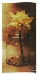 Vintage Daffodil Flower Art Hand Towel