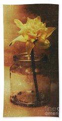 Vintage Daffodil Flower Art Bath Towel
