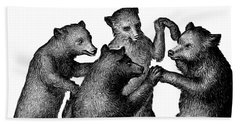 Hand Towel featuring the drawing Vintage Dancing Bears by Edward Fielding