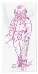 Hand Towel featuring the digital art Vintage Diver by Edward Fielding