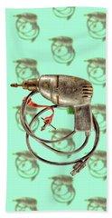 Vintage Drill Motor Green Trigger Pattern Bath Towel by YoPedro