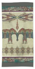 Hand Towel featuring the painting Vintage Elephants Kashmir Paisley Shawl Pattern Artwork by Audrey Jeanne Roberts