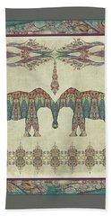 Bath Towel featuring the painting Vintage Elephants Kashmir Paisley Shawl Pattern Artwork by Audrey Jeanne Roberts