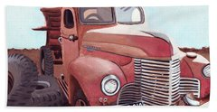 Vintage Fire Truck Watercolor Painting In A Local Scrapyard Bath Towel