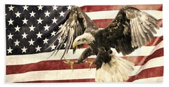 Hand Towel featuring the photograph Vintage Flag With Eagle by Scott Carruthers