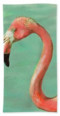 Hand Towel featuring the digital art Vintage Flamingo by Jane Schnetlage