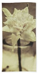 Vintage Floral Still Life Of A Pure White Bloom Bath Towel