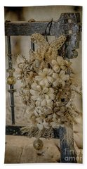 Vintage Floral Swag On A Bedpost Hand Towel