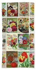 Bath Towel featuring the drawing Vintage Flower Seed Packets 1 by Peggy Collins