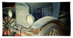 Vintage Ford Bath Towel by Inspirational Photo Creations Audrey Woods