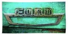 Bath Towel featuring the photograph Vintage Ford Truck Logo  by Terry DeLuco