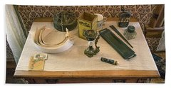 Bath Towel featuring the photograph Vintage Gentlemen's Preparation Table by Gary Slawsky
