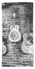 Vintage Guitar Trio In Black And White Bath Towel