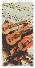 Vintage Guitars On Music Sheet Hand Towel