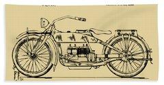 Vintage Harley-davidson Motorcycle 1919 Patent Artwork Bath Towel