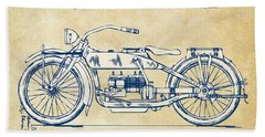 Vintage Harley-davidson Motorcycle 1919 Patent Artwork Bath Towel by Nikki Smith