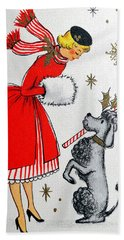 Vintage Holiday Postcard, Woman With Her Dog Hand Towel