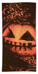 Vintage Horror Pumpkin Head Bath Towel