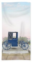 Vintage Horse Drawn Carriage Outside A Country Mansion  Bath Towel