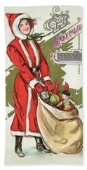 Vintage Illustration Of A Girl In A Santa Claus Suit With A Bag Of Christmas Toys Hand Towel
