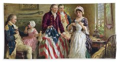 Vintage Illustration Of George Washington Watching Betsy Ross Sew The American Flag Bath Towel