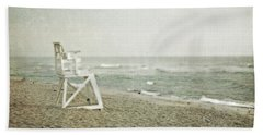 Vintage Inspired Beach With Lifeguard Chair Hand Towel by Brooke T Ryan