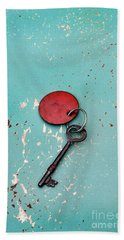 Vintage Key With Red Tag Hand Towel by Jill Battaglia