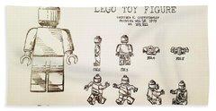 Vintage Lego Toy Figure Patent - Graphite Pencil Sketch Hand Towel