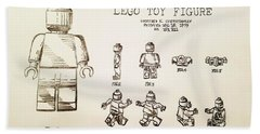 Vintage Lego Toy Figure Patent - Graphite Pencil Sketch Bath Towel