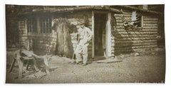 Vintage Log Cabin Bath Towel by Linda Phelps
