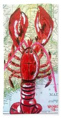 Vintage Map Maine Red Lobster Hand Towel