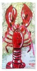 Vintage Map Maine Red Lobster Bath Towel by Scott D Van Osdol