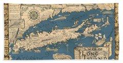 Vintage Map Of Long Island Bath Towel by James Kirkikis