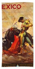 Vintage Mexico Bullfight Travel Poster Hand Towel by George Pedro