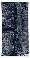 Vintage New York City Street Map Bath Towel