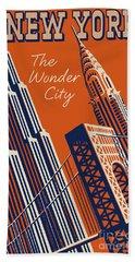 Vintage New York City Travel Poster Hand Towel