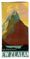 Vintage New Zealand Travel Poster Hand Towel by George Pedro