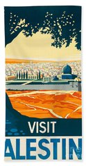 Vintage Palestine Travel Poster Hand Towel by George Pedro