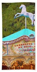 Hand Towel featuring the photograph Vintage Paris Carousel by Melanie Alexandra Price