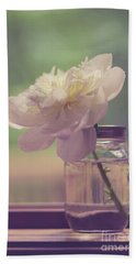 Bath Towel featuring the photograph Vintage Peony Flower Still Life by Edward Fielding