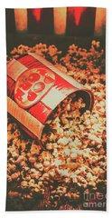 Vintage Popcorn Tin. Faded Films Still Life Hand Towel