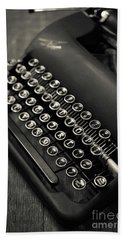 Hand Towel featuring the photograph Vintage Portable Typewriter by Edward Fielding